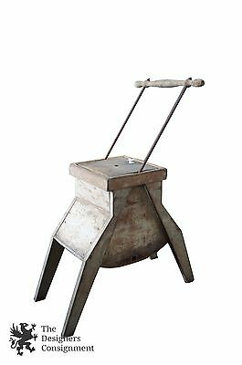Primitive Antique 19th Century Butter Churn Solid Wood Metal Bottom
