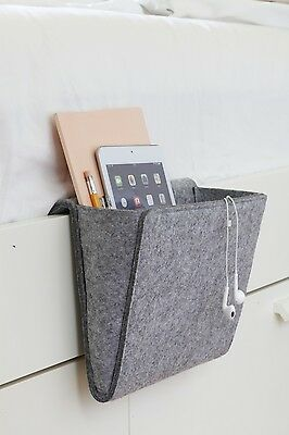 Kikkerland Bedside Pocket Travel Bed Side Storage Grey Childs Organisation Gift