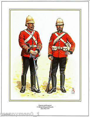 signed Military Print Captain & Corporal 1st King's Dragoon Guards Zulu War 1879