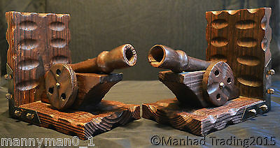 Rare Early 19th C Black Forest Carved wooden Bookends wheel Cannons big War guns