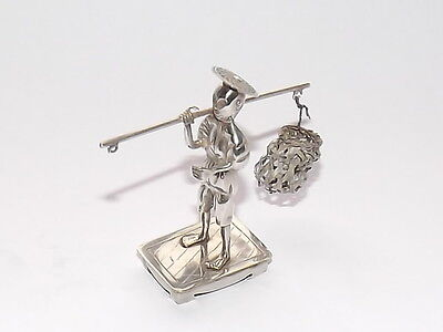 Superb Rare Antique Chinese Export Solid Silver Miniature Porter Figurine C1900