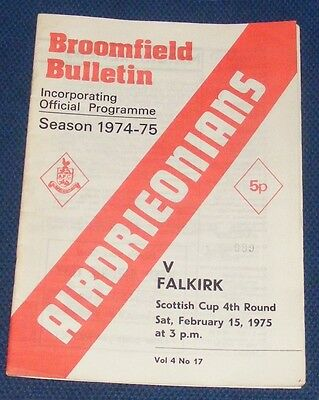 Airdrieonians Home Programmes 1974-1975
