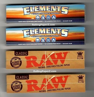 4 Pack Sampler RAW CLASSIC and ELEMENTS King Size Slim Cigarette Rolling Papers