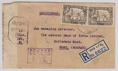 B7433: 1942 WW II Aden Registered Censor Cover, Markings!