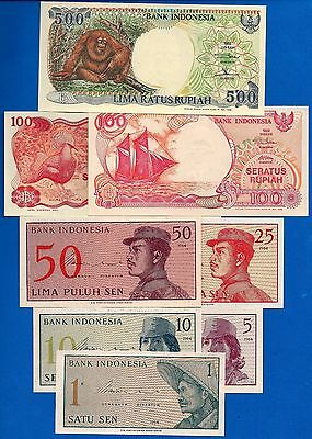 Indonesia P-90, P-91, P-92, P-93, P-94, P-122, P-127, P-128 Uncirculated Set # 3