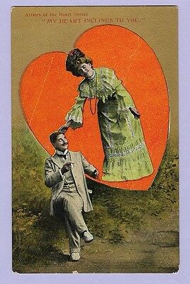 Postcard Vintage Valentine's Novelty Affairs Of The Heart Series Woman Man A