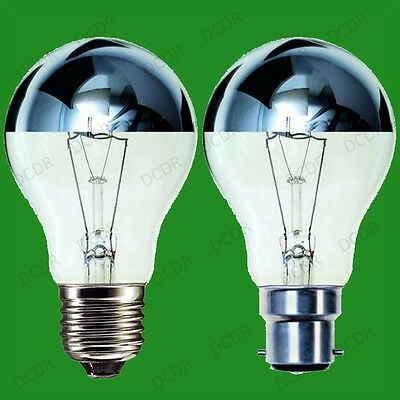 4x Crown Silver Top Reflector Dimmable GLS Light Bulb 100W or 60W BC B22 ES E27