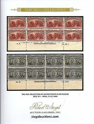 Hardcover 2009 R. A. Siegel Sale 971 MLG COLLECTION US PLATE BLOCKS