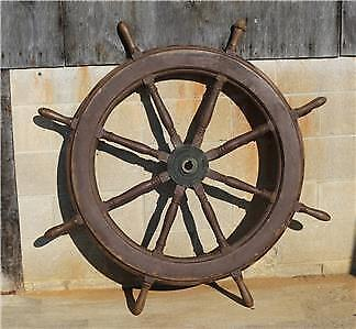 "54"" Authentic 8 Spoke Antique Teak Wood and Brass Nautical Ship Wheel"