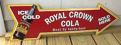 ROYAL CROWN COLA Ice Cold Sold Here Arrow Shape Metal Sign RC Cola Soda