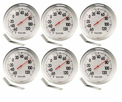 "6 Pack 6"" Indoor / Outdoor Dial Thermometer w/Mounting Bracket by Taylor 5630"
