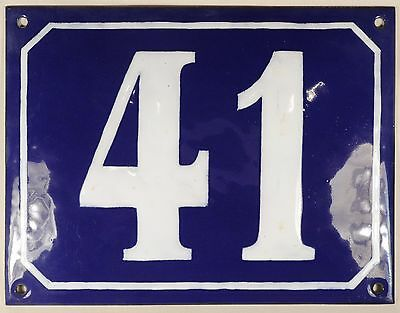 Large old blue French house number 41 door gate plate plaque enamel steel sign
