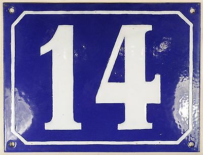 Large old blue French house number 14 door gate plate plaque enamel steel sign