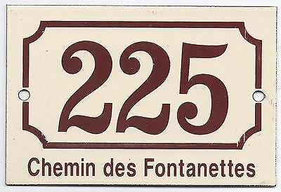 Cream French house number 225 door gate plaque enamel steel metal sign Rhone