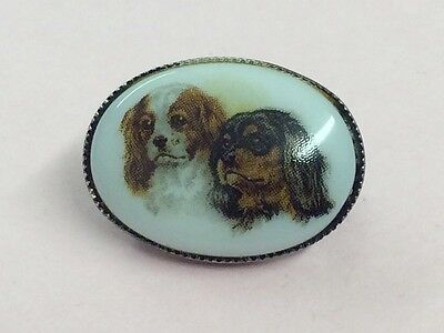 Vintage Tiny Sterling Silver King Charles Spaniel Dog Brooch Pin 1950
