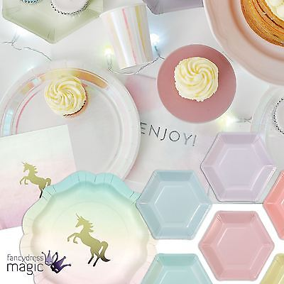 Talking Tables Pastel Iridescent Unicorn Party Birthday Tableware Rainbow Lot