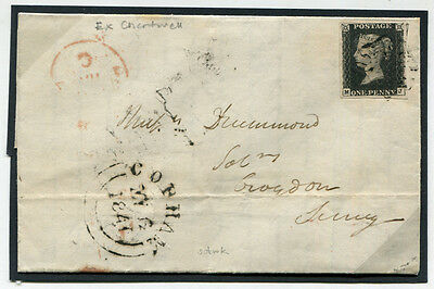 1840 Penny Black (Plate 5 MJ) on 1841 cover from Cobham to Croydon . . .