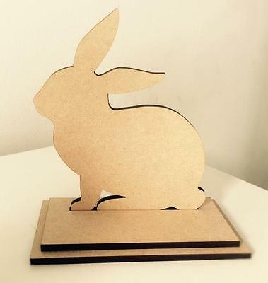 Wooden Rabbit On Stand Easter Decoration Mdf 15 Cm