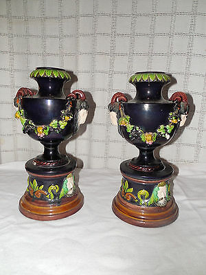 Antique rams head majolica urn, vases  set of two Lovely set