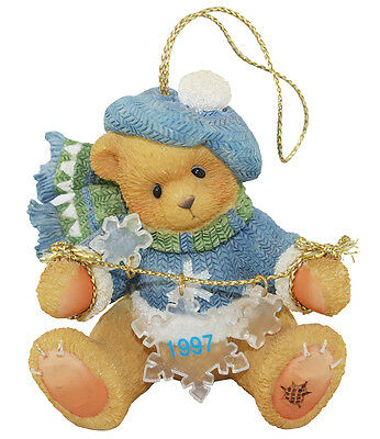 Cherished Teddies Bear with Dangling Snowflakes 1997 Hanging Ornament 272175