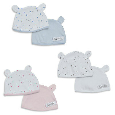 Babytown 2 Pack Cotton Baby Hats with Teddy Ears