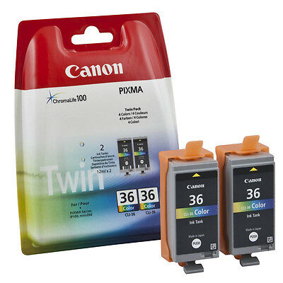 Genuine Canon CLI-36 colour ink cartridge twin pack CLI36 for IP100 VAT inc