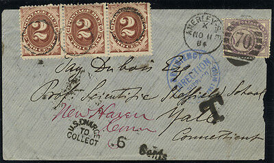Postage Due 1884 envelope to Yale, Connecticut (1d lilac & strip of three dues)