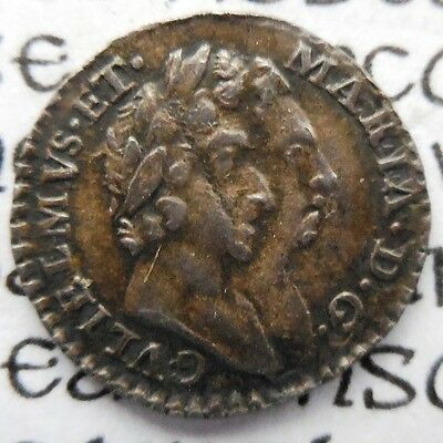 1694 William & Mary Maundy Penny. 'hi' For 'hib'. Pointed Top '4'.