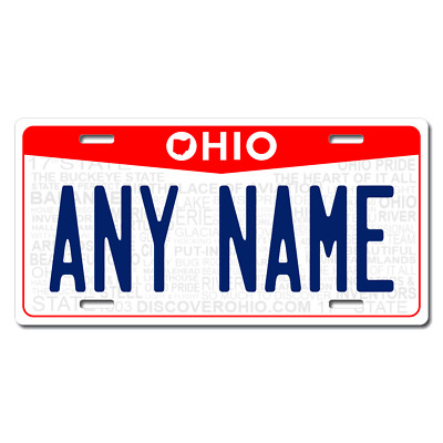 Personalized Ohio License Plate for Bicycles, Kid's Bikes & Cars Ver 3