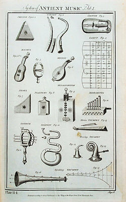 1788 Antique Print - Copper Plate Engraving, Art, Ancient Music, Instruments