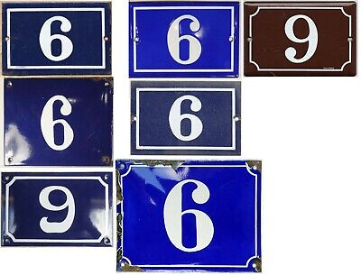 Old blue French house number 6 9 door gate wall fence street sign plate - pick