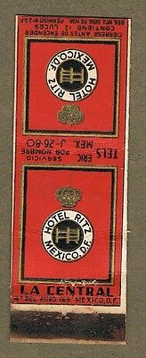 1930`s Hotel Ritz  Mexico   Matchcover Aa77