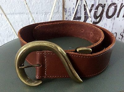 CooL~Vintage- LEATHER-Brown THICK Leather BELT /BRASS Buckle~S-M