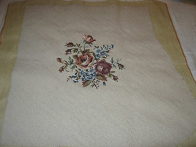 Vintage Needlepoint Tapestry Rose Bouquet Chair Cover or Cushion