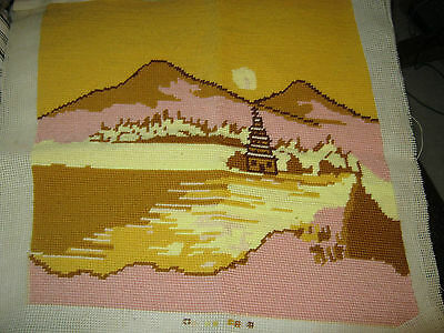 Finished Needlepoint Tapestry Sunset In The Desert