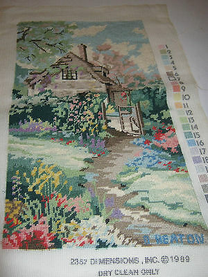 Finished Needlepoint Tapestry Garden Cottage