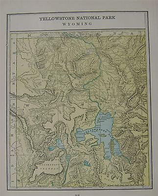 1899 Yellowstone National Park, Wy. Original Color Atlas Map**  118 years-old!