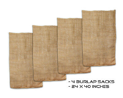 """Get Out!™ Burlap Potato Sack Race Game 23"""" x 40"""" with Natural Fabric Bags 4-Pack"""
