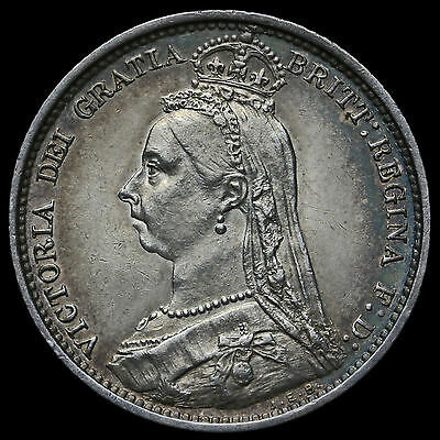 1889 Queen Victoria Jubilee Head Silver Sixpence – EF