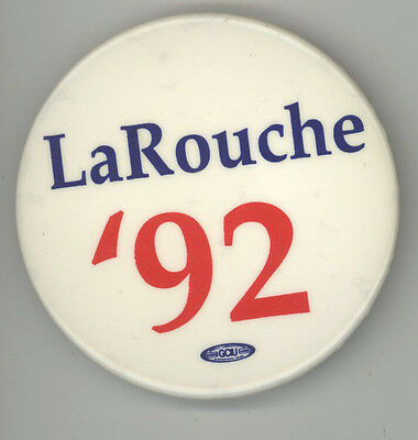 1992 LYNDON LAROUCHE President POLITICAL Pinback PIN Button BADGE Protest CAUSE