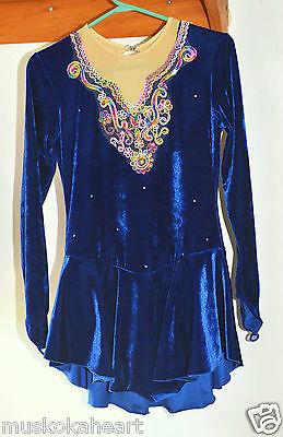 Ice Fairy -- Navy Blue &  Multicolour Design Skating Dress -- size L