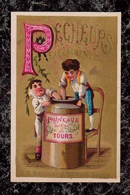 Boys Stealing Preserves S D Sollers Co Fine Shoes Victorian Trade Card Poem Back