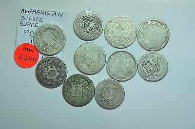 mw6240 Afghanistan; Silver Rupee - Lot of 10 circulated coins