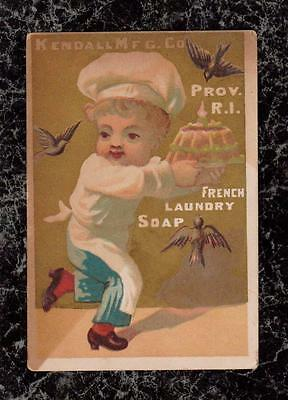Birds Attack Cake French Laundry Soap Kendall Victorian Trade Card Providence RI