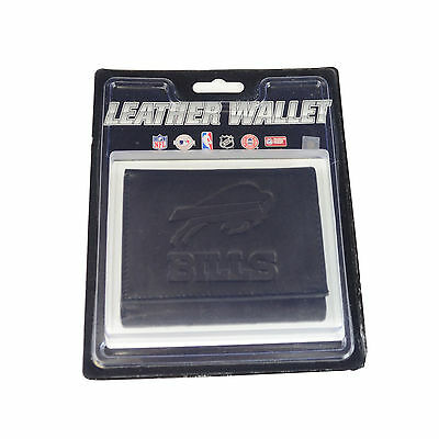New NFL Buffalo Bills Embossed Tri-Fold Black Genuine Leather Men Wallet