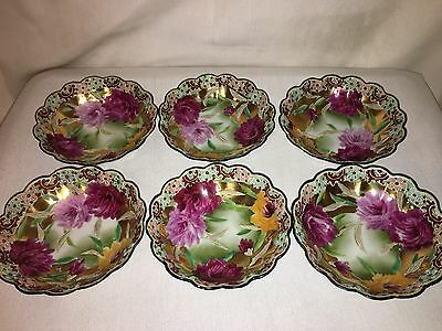 """Set Of 6 Vintage Antique Hand Painted Small Bowls Pink Floral/gold Trim 5.5"""""""