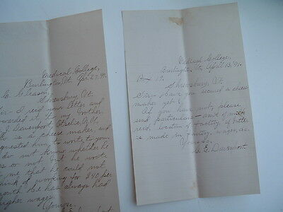 1891 (2) Medical College,Burlington,Vermont/signed C.E.Davenport,letters!