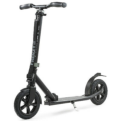 Frenzy 205mm Pneumatic Folding Scooter - Black - Adjustable Height