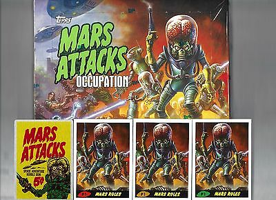 Mars Attacks Occupation Topps  SEALED BOX 24 PKS  2 MAJOR HITS +3 PROMOS + METAL