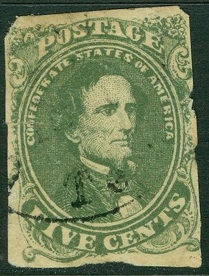 CONFEDERATE : 1861. Scott #1c Olive Green. Used with small faults. Catalog $200.